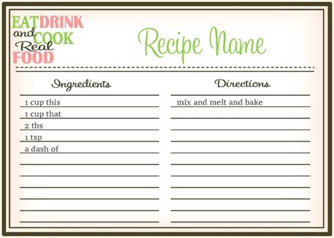 cocktail recipe card template free real food recipe cards diy editable the healthy honeys