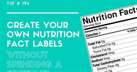 Create Nutrition Label Free retail confectioners international tip 194 create your