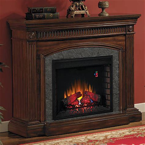 saranac electric fireplace mantel in roasted cherry