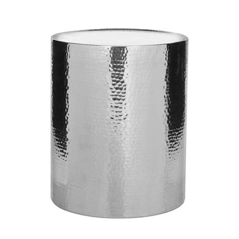 silver metal end table silver metal cylinder coffee table