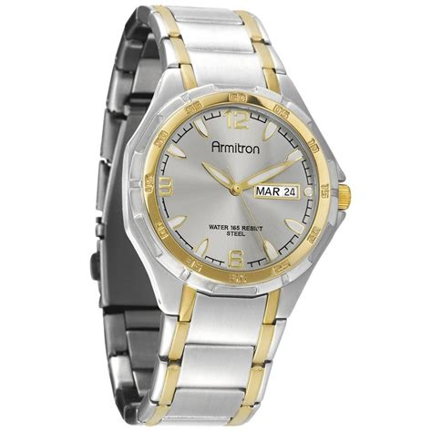 armitron mens two tone stainless steel bracelet w