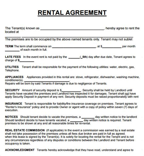 Rental Lease Agreement Template house lease agreement 7 free pdf doc