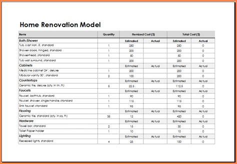 7 renovation spreadsheet excel spreadsheets