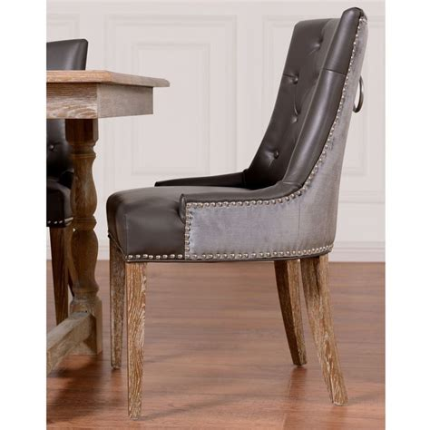 Leather Dining Room Chairs With Nailhead Trim Uptown Leather Velvet Dining Chair Set Of 2 Dining