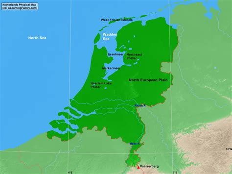 netherlands mountains map netherlands physical map a learning family