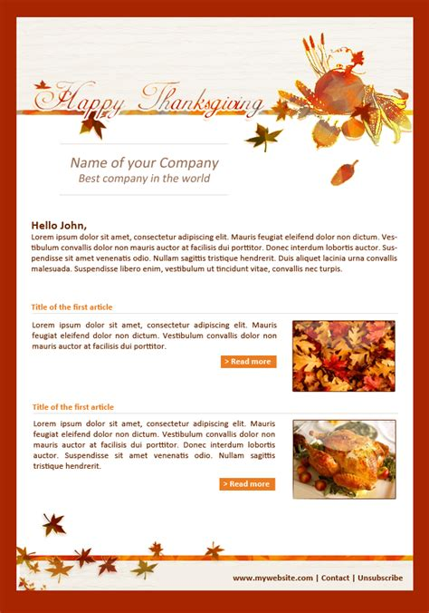 Newsletter Acymailing Newsletter Tool Thanksgiving Newsletter Template Free