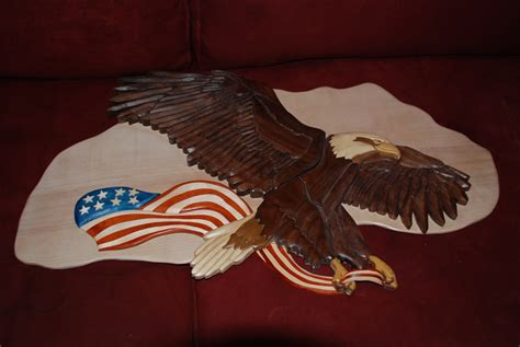woodworking  sale intarsia eagle large size