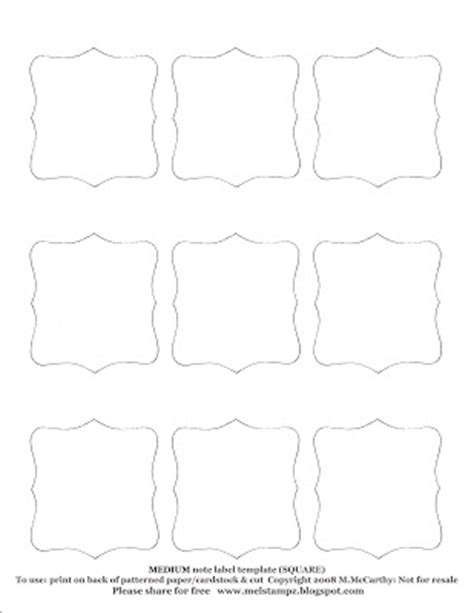 Mel Stz Square Label Or Note Shape Templates Some Cards 1 Inch Square Label Template