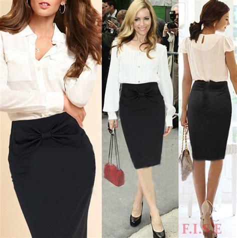 Rok Motif Dira Skirt Ori business suit skirt black knee length vintage high waist pencil skirt bow design