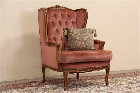 vintage velvet chair sold style carved vintage velvet wing chair