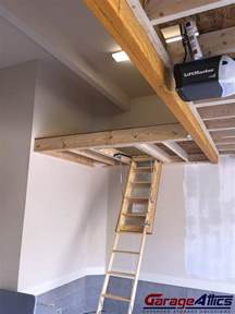 Pull Down Garage Stairs by Storage Loft In Garage W Pull Down Stairs Overhead