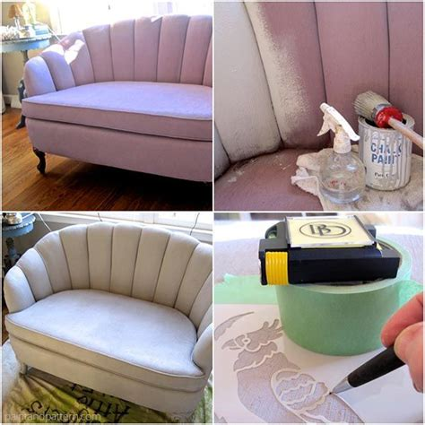 chalk paint sofa chalk paint upholstery how to paint and stencil furniture