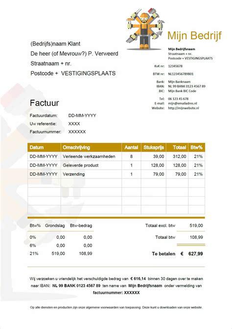 bedrijf aan huis voorbeelden factuur voorbeeld download gratis factuur in word