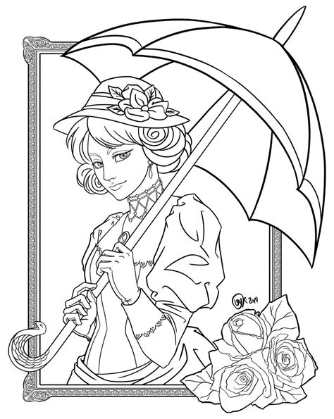 november themed coloring pages victorian lady by raposavyk on deviantart