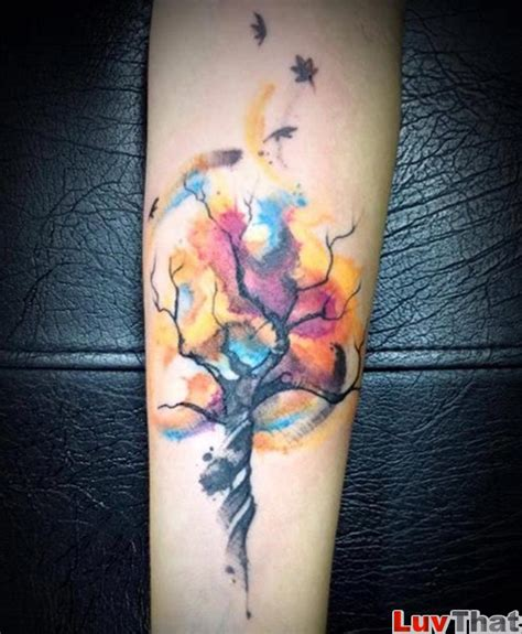 tree with colorful swirling watercolor leaves