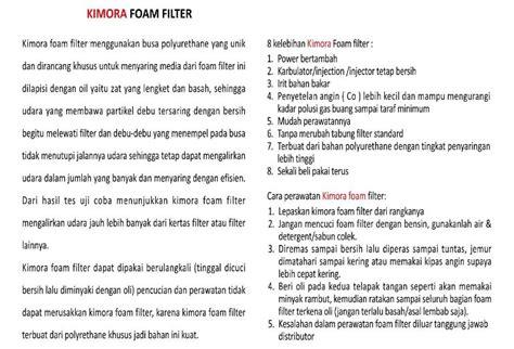 Saringan Udara Kimora 1 kimora foam filter saringan udara motor injeksi sekali