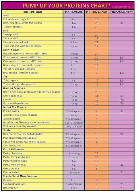 vegetables protein amount protein amount in foods chart food