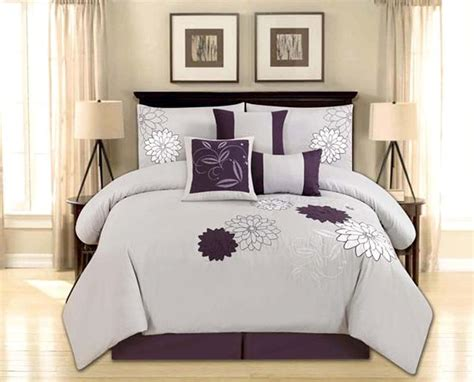 Purple Gray Floral Comforter Set 7 Size Comforter Set Embroidered Flower Gray Purple Bed In A Bag Ebay