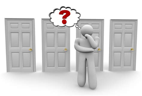 A Which Deciding Which Door To Choose 2 A Figure Stands Before A