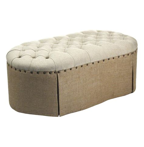 French Country Round Oval Tufted Linen Burlap Skirted