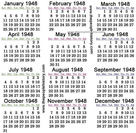 Calendario De 1948 Opiniones De 1948