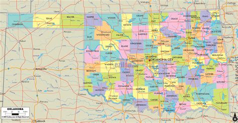 oklahoma counties map political map of oklahoma ezilon maps