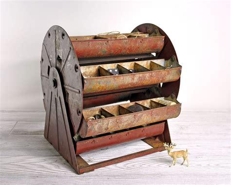 vintage metal carousel parts bin metal organizer