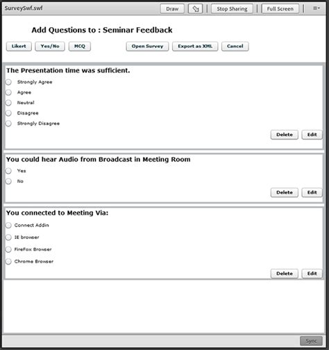 Survey Questions - building a multiple question survey application for adobe connect 8 adobe developer