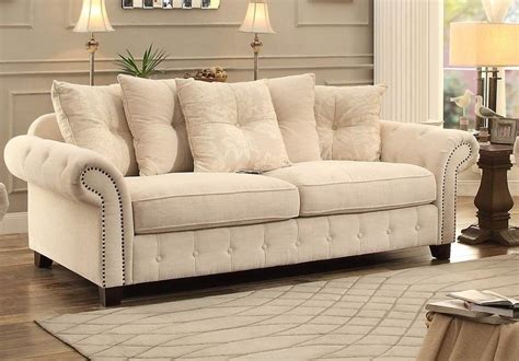 cream tufted sofa vicarrage cream tufted sofa 8458 3 homelegance