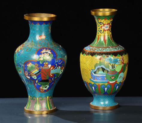 vasi cloisonne coppia di vasi cloisonne in rame antiquariato argenti e