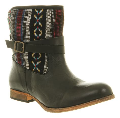 womens h boots womens h by hudson coachella fabric boot black leather