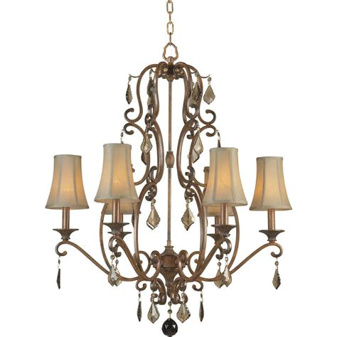 Rustic Candle Chandeliers Shop Shandy 28 In 6 Light Rustic Tinted Glass Candle Chandelier At Lowes