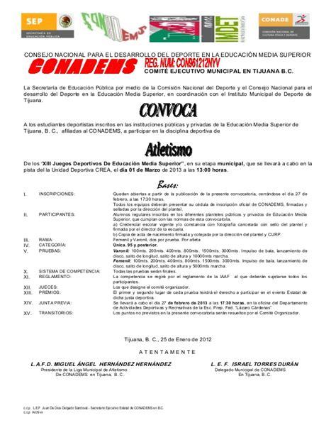 convocatoria 2016 minsa la libertad convocatoria municipal atletismo conadems 2013