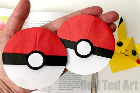 How To Make A Pokeball Out Of Paper - pokeball bookmark corner with go ted