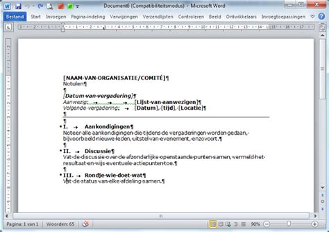 layout word verslag notuleersjabloon standaard in word