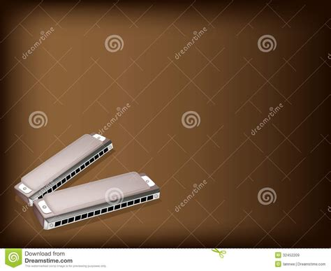 what is a l harp a blues harmonica on brown background royalty free