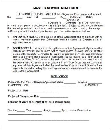 my own service master agreement template kidscareer info