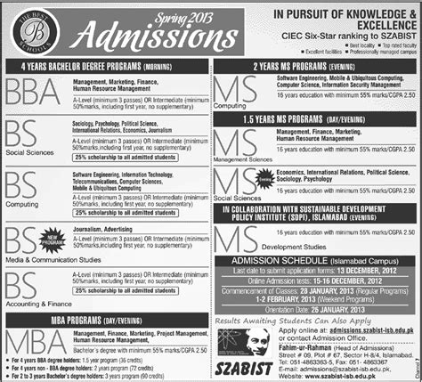 Szabist Mba Admission 2017 by Szabist Islamabad Admission 2018 Application Form