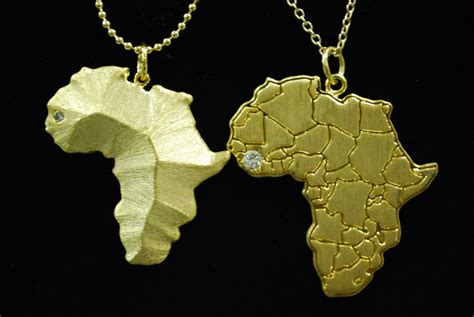 africa map necklace gold terrain necklace