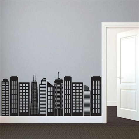 cityscape wall stickers simple geometric city skyline silhouette wall decal custom vinyl stickers room