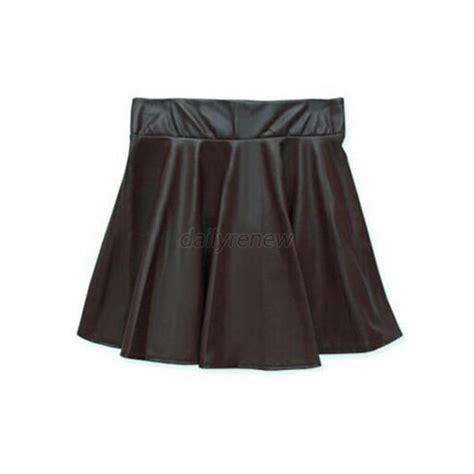 vogue faux leather high waist skater flared
