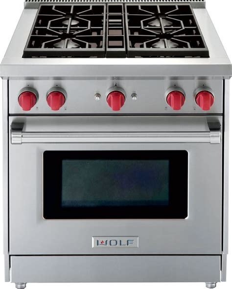 30 quot wolf home stoves wolf gr304 30 inch pro style gas range with 4 4 cu ft convection oven 4 dual stacked sealed