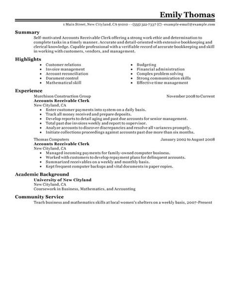Accounts Receivable Resume Template Best Accounts Receivable Clerk Resume Exle Livecareer