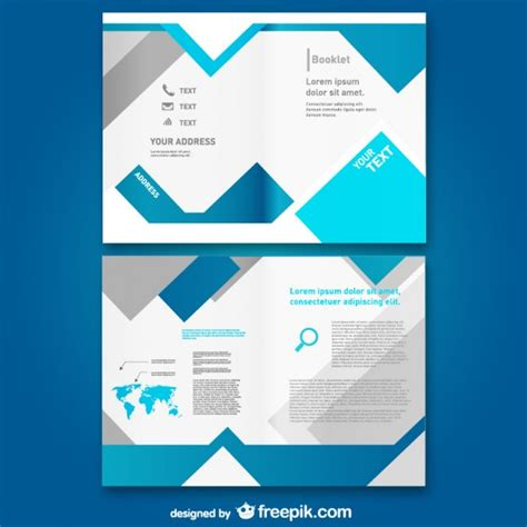 free leaflet design website bloue booklet template vector free download
