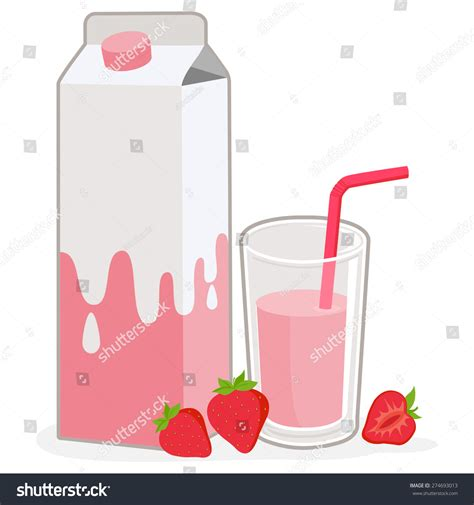 Met4 Pasific Sangha Strawberry Milk milk a served glass of strawberry flavored milk and strawberries stock vector