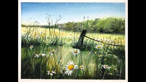 youtube watercolor tutorials watercolor meadow painting tutorial youtube