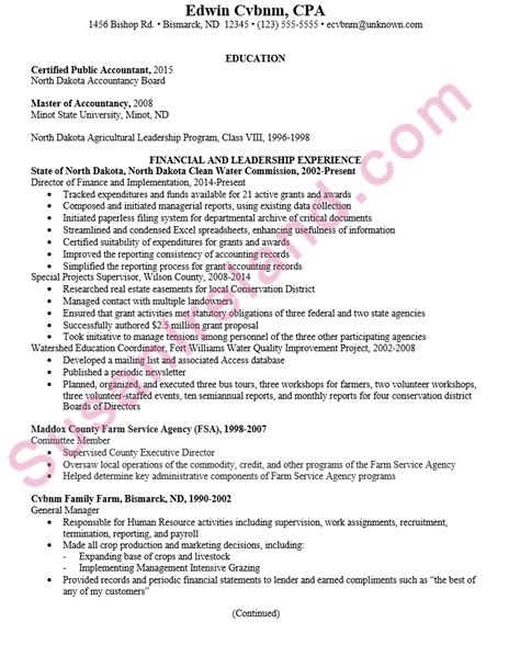 cpa on resume chronological resume sle certified accountant cpa