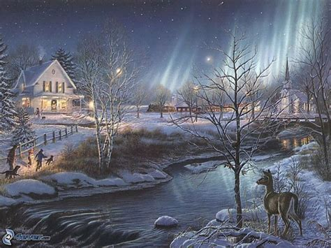 google images christmas scenes thomas kinkade winter wallpaper google search art