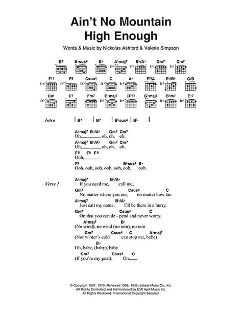 chord ever enough ain t no mountain high enough sheet ain t no mountain high enough sheet music by diana ross