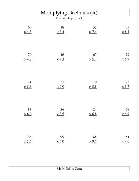 Math Worksheets For Grade 6 Decimals by Multiplying Decimals Worksheet Two Digit Whole By Two